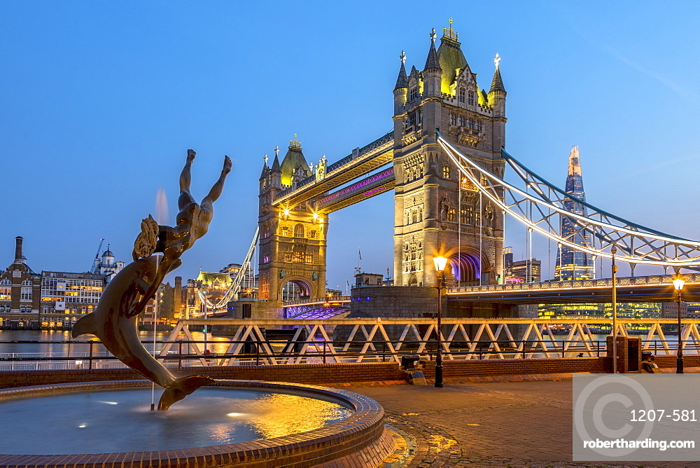 Tower Bridge at sunset in London, England, Europe