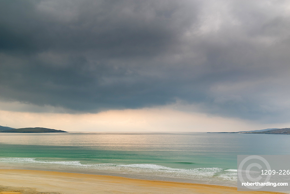 Luskentyre Beach, West Harris, Outer Hebrides. Taransay far distance.