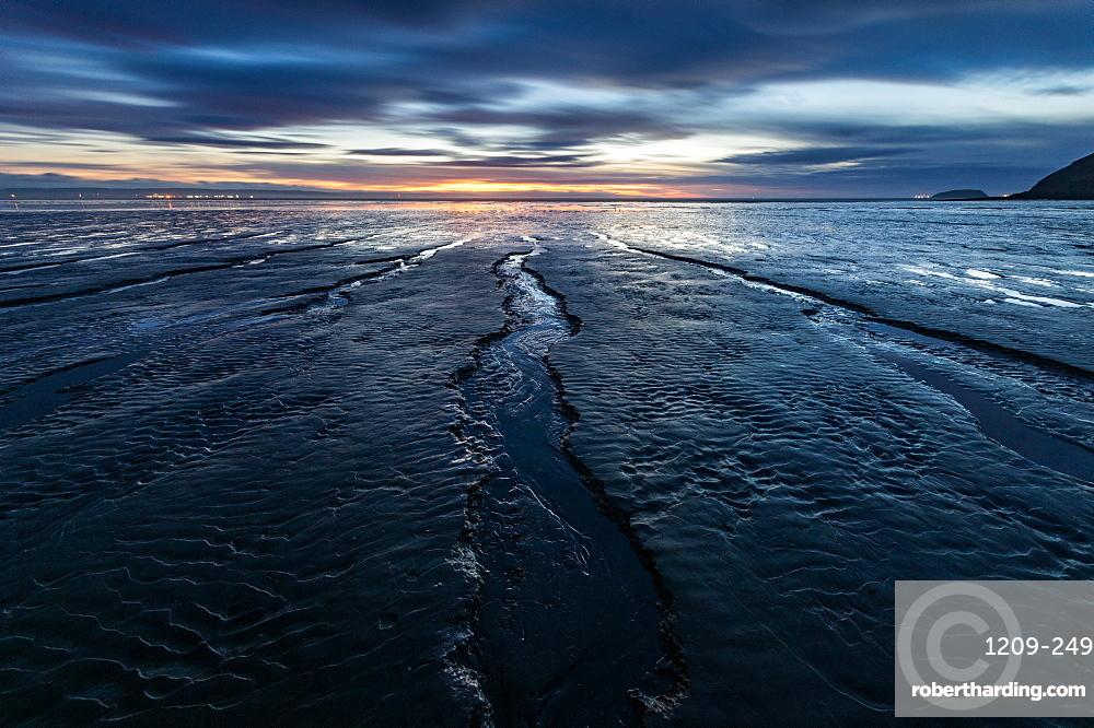 Brean Beach, Somerset. Sunset. Mud. Bristol Channel.