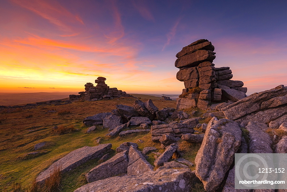 Great Staple Tor at sunset in Dartmoor National Park, England, Europe