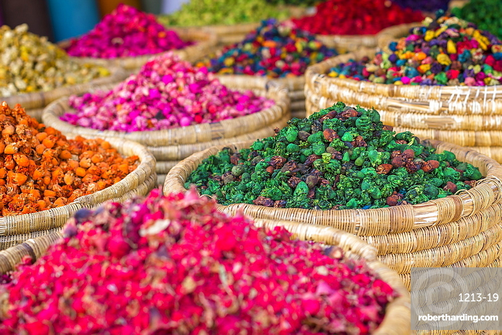 Herbs for sale in a stall in the Place Djemaa el Fna in the medina of Marrakech, Morocco, North Africa, Africa