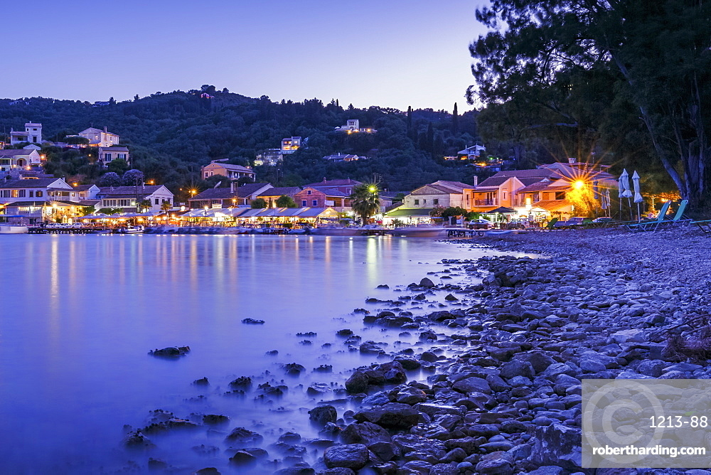 The small town of Agios Stefanos on the northeast coast of the island of Corfu, Greek Islands, Greece, Europe