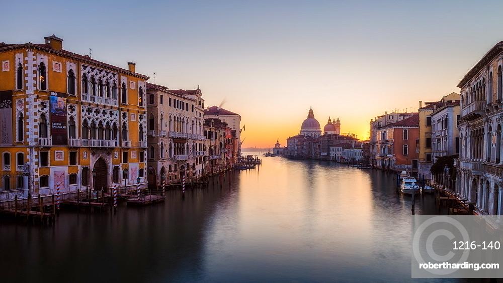 Sunrise at the Grand Canal, Venice, UNESCO World Heritage Site, Veneto, Italy, Europe