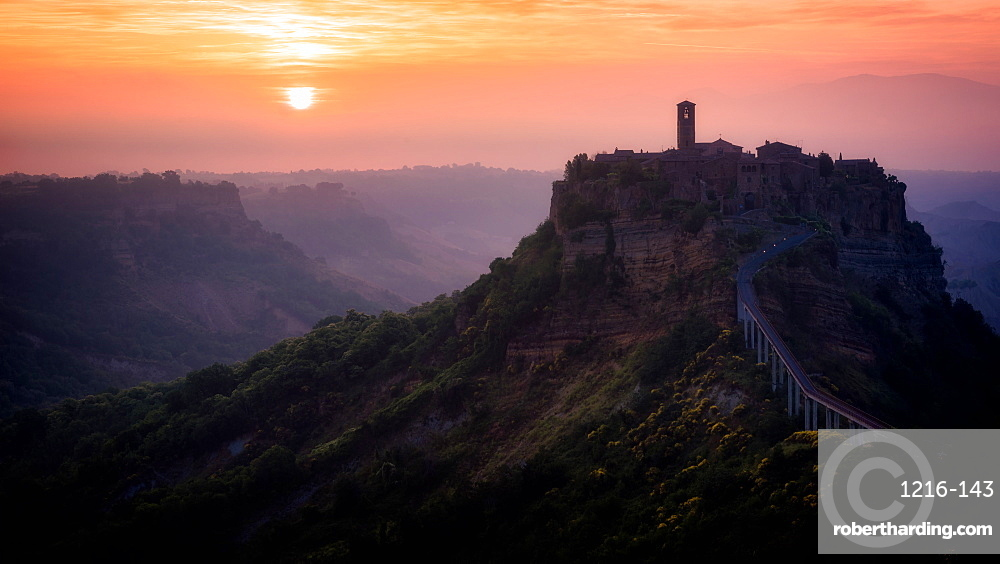 Sunrise at Civita di Bagnoregio, Umbria, Italy, Europe