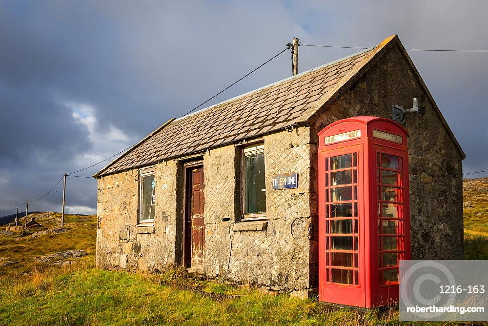 Telephone box, Isle of Harris, Outer Hebrides, Scotland, United Kingdom, Europe