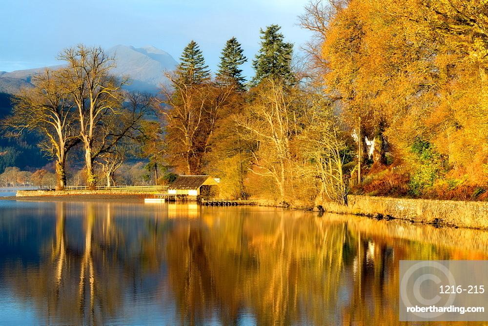 Loch Ard boathouse in autumn, Trossachs National Park, Stirling Region, Scotland, United Kingdom, Europe
