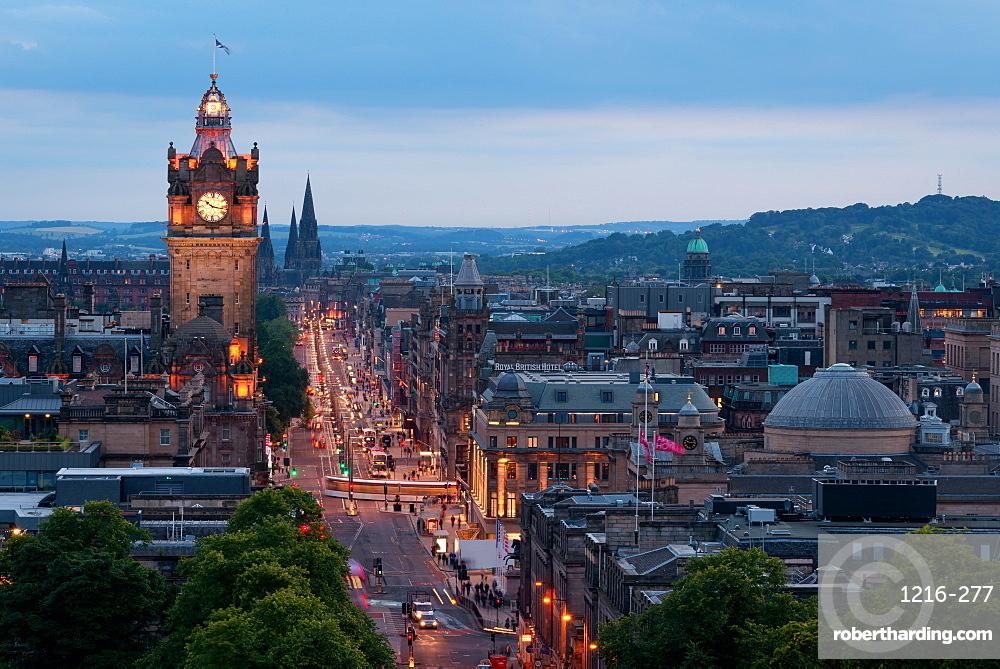 Princes Street at night, Edinburgh, Scotland, United Kingdom, Europe