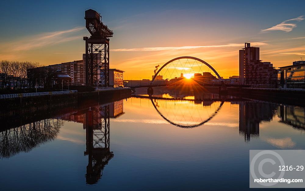 Sunrise at the Clyde Arc (Squinty Bridge), Pacific Quay, Glasgow, Scotland, United Kingdom, Europe