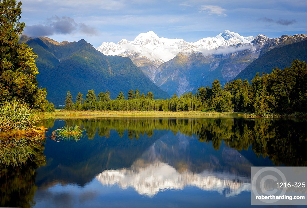Mount Tasman and Aoraki (Mount Cook) reflected in Lake Matheson, South Island, New Zealand, Pacific