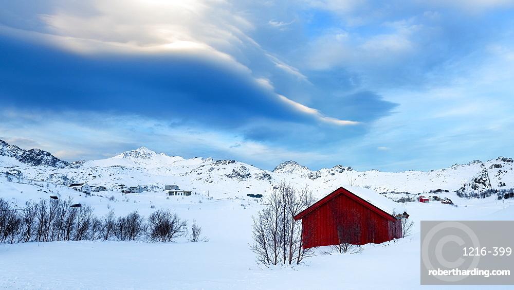 Red Cabin in the Snow, Lofoten Islands, Nordland, Norway, Europe