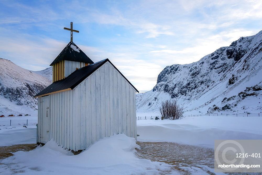 The Little White Church, Unstad Beach, Lofoten Islands, Nordland, Norway, Europe