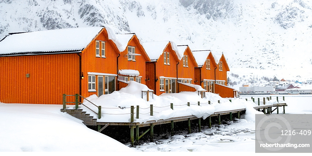 Rorbuer huts, rorbu, Ballstad, Lofoten Islands, Nordland, Norway, Europe