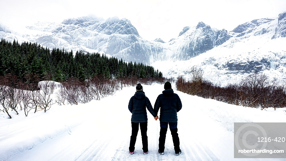At 68 Degrees North, a couple consider Arctic Winter landscape of Lofoten, Nordland, Norway, Europe