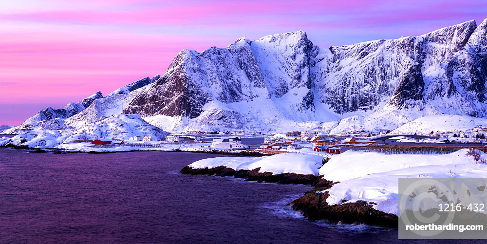Sunrise at Sakrisoy, Lofoten, Nordland, Arctic, Norway, Europe