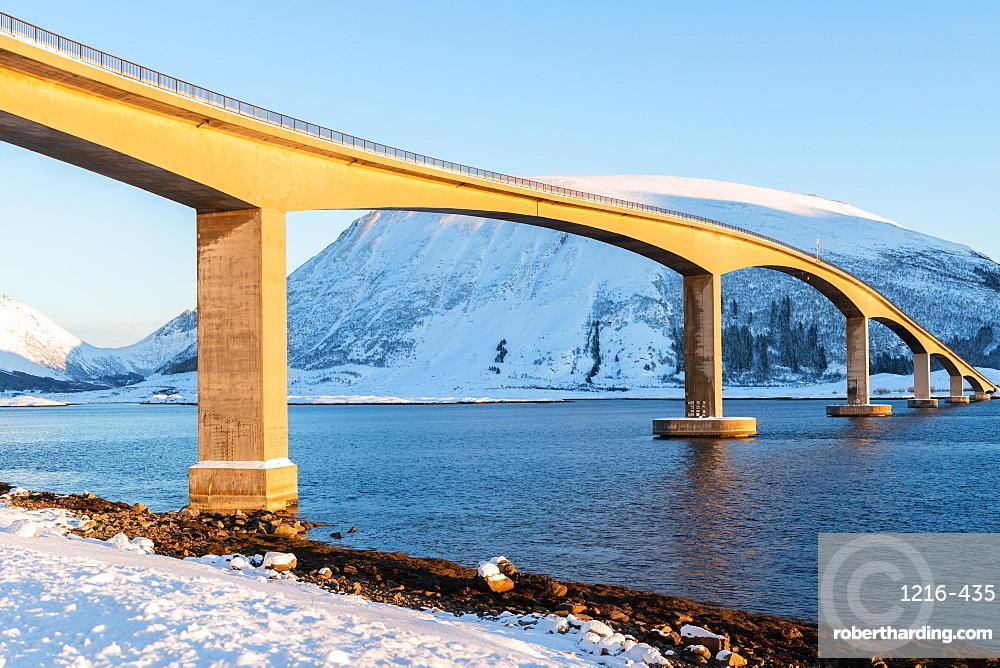 Bridge in Lofoten during a snowy winter's day, Nordland, Arctic, Norway, Europe