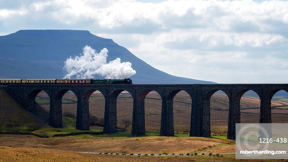 Steam train crossing the Ribblehead Viaduct, Yorkshire Dales National Park, Yorkshire, England, United Kingdom