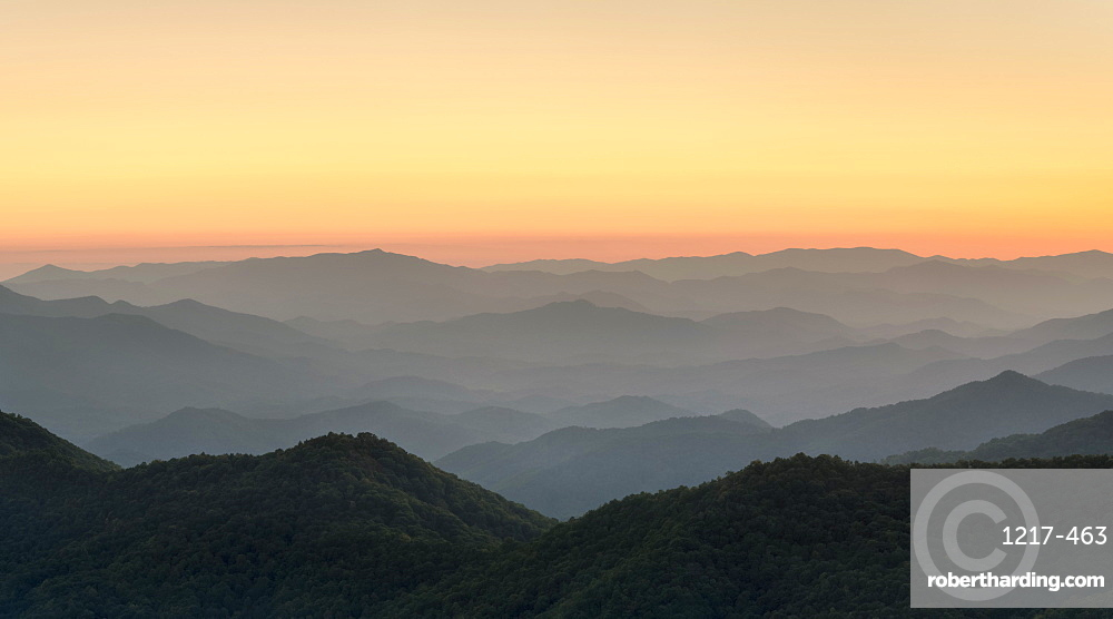 Blue Ridge Mountains from the Blue Ridge Parkway at sunset, Jackson County, North Carolina, United States of America, North America