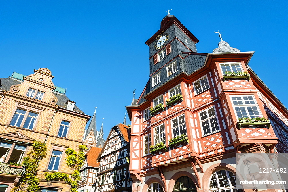Historic buildings on Marktplatz market square, Heppenheim, Hessen, Germany, Europe