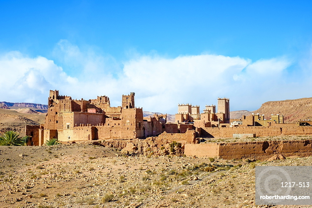 Mud Kasbah buildings at Ksar of Tamedakhte, Ouarzazate Province, Souss-Massa-Draa, Morocco, North Africa, Africa