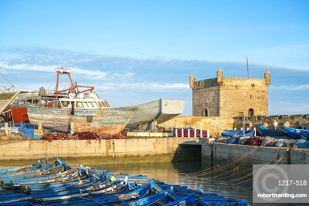 Skala du Port, 18th-century seafront ramparts and boats in the fishing port, Essaouira, Marrakesh-Safi region, Morocco, North Africa, Africa