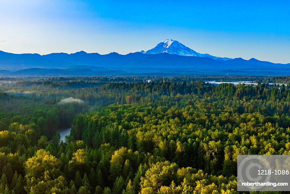 Aerial view of Mt. Rainier at sunrise