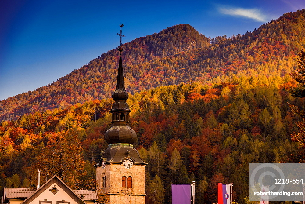Fall foliage and scenic views in Vrsic Pass, Julian Alps, Slovenia, Europe