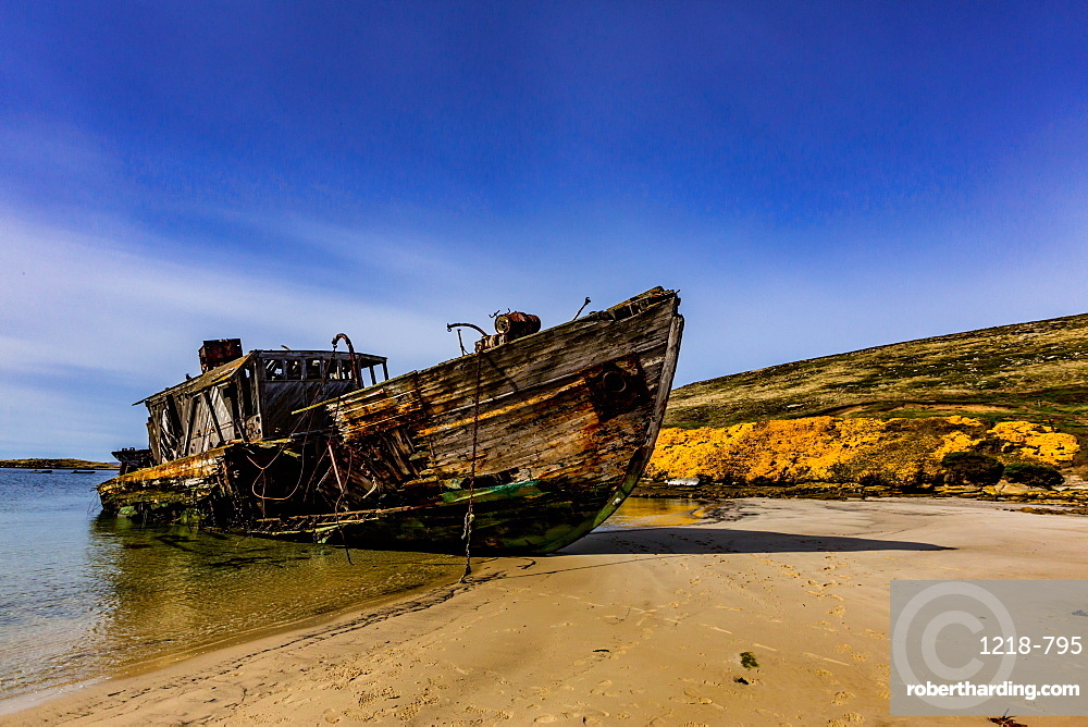 View from of an abandoned ship on New Island, Falkland Islands, South America