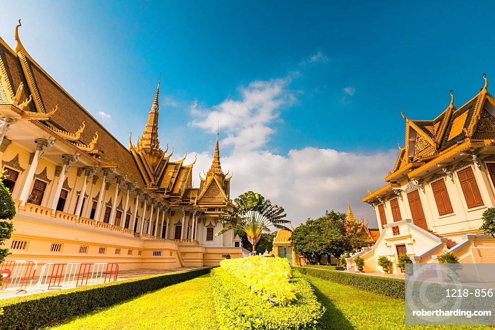 Temples at the Royal Palace in Phnom Penh, Cambodia.