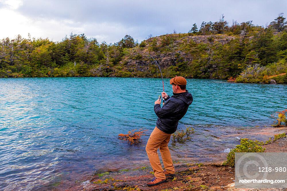 Fishing in Toro Lake, Patagonia