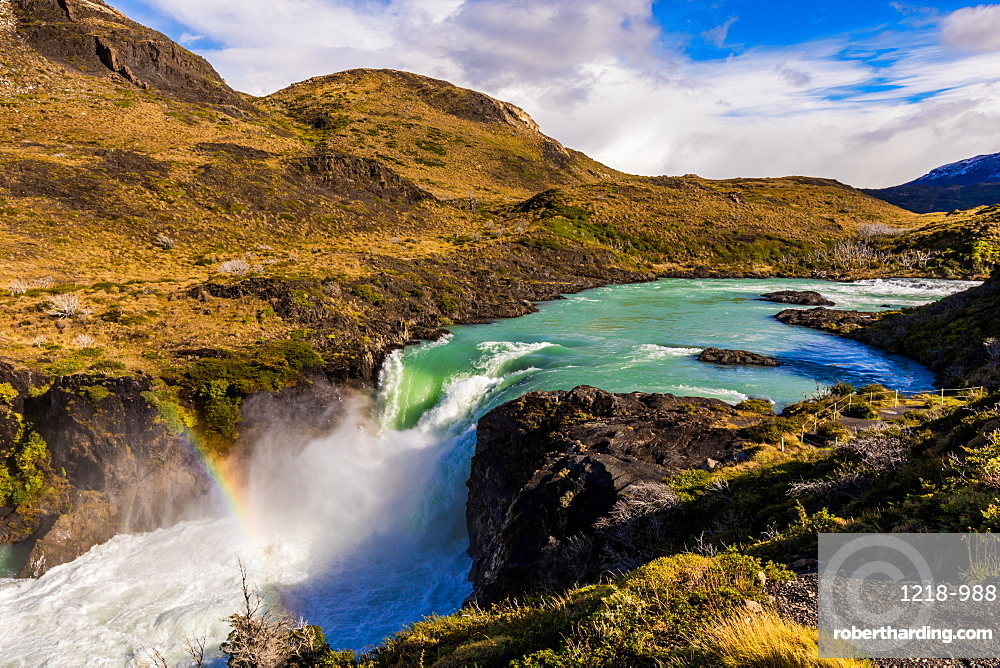 Beautiful rainbow over Torres del Paine National Park, Patagonia, Chile