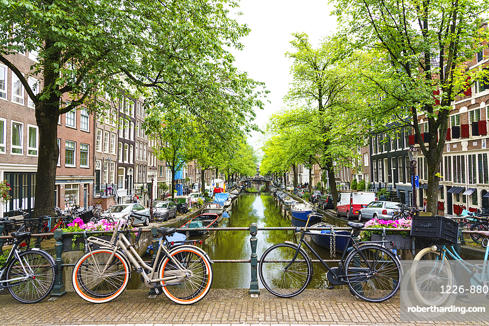 Bicycles on a bridge, Bloemgracht canal, Amsterdam, Netherlands