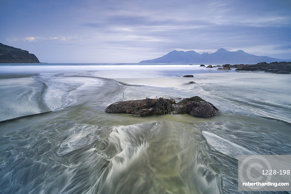 The Isle of Rhum from Laig Bay, Cleadale, Isle of Eigg, Small Isles, Inner Hebrides, Scotland, United Kingdom, Europe