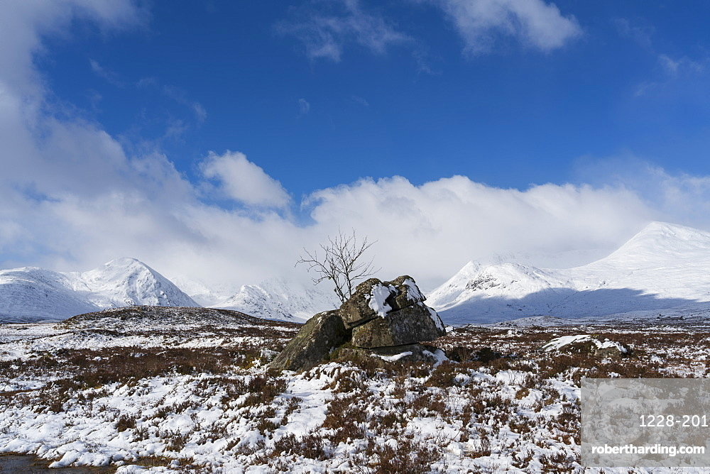 Snow capped Black Mount and Rannoch Moor, Argyll and Bute, Scotland, UK.