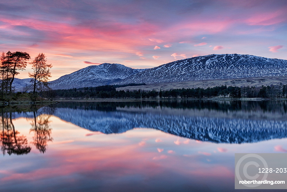 Winter sunset over The Black Mount and Loch Tulla, Argyll and Bute, Scotland, UK.
