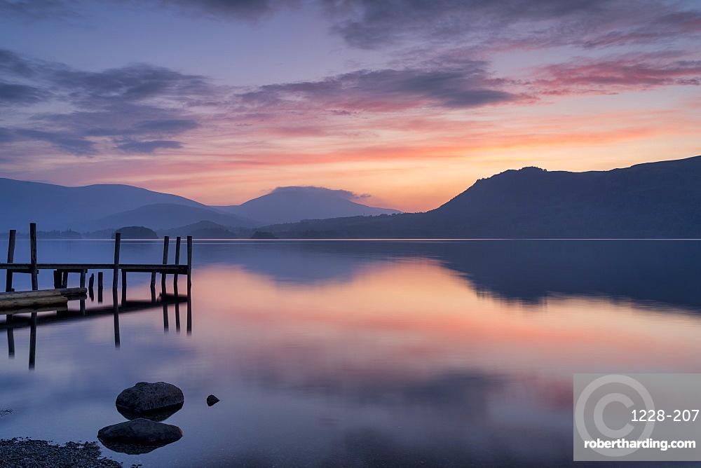 Brandlehow Jetty at dawn, Lake Derwent Water, The Lake District, England.