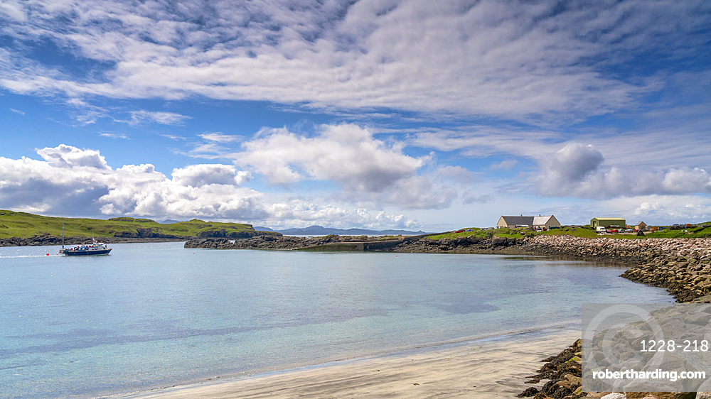 Galmisdale Bay in mid-summer, Isle of Eigg, Small Isles, Inner Hebrides, Scotland, United Kingdom, Europe