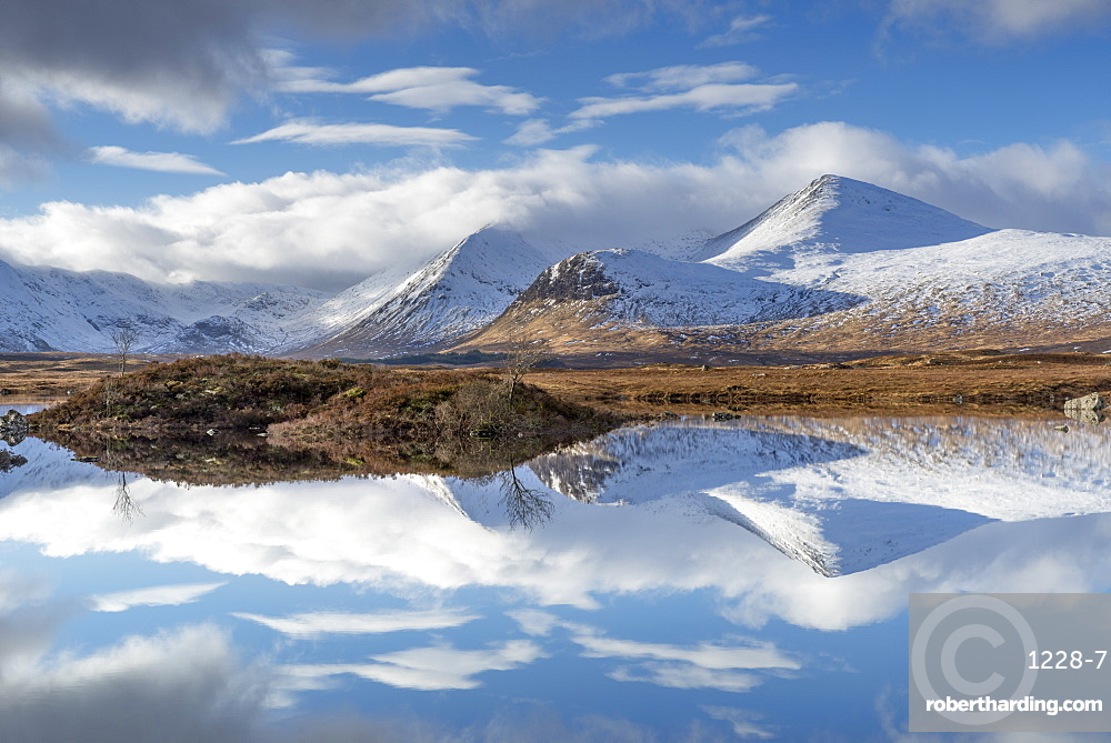 Lochan na Stainge and Black Mount under snow in mid-winter, Argyll and Bute, Scotland, United Kingdom, Europe