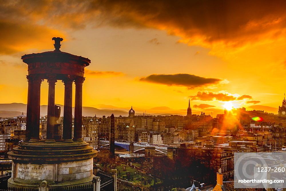 Edinburgh sunset view from Calton Hill, Dugald Stewart Monument, Scotland, United Kingdom, Europe.