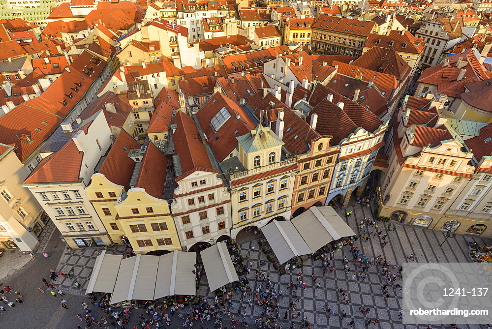 View of Prague's historic Old Town Square from Old Town Hall with rooftops and pedestrians below, UNESCO World Heritage Site, Prague, Czech Republic, Europe