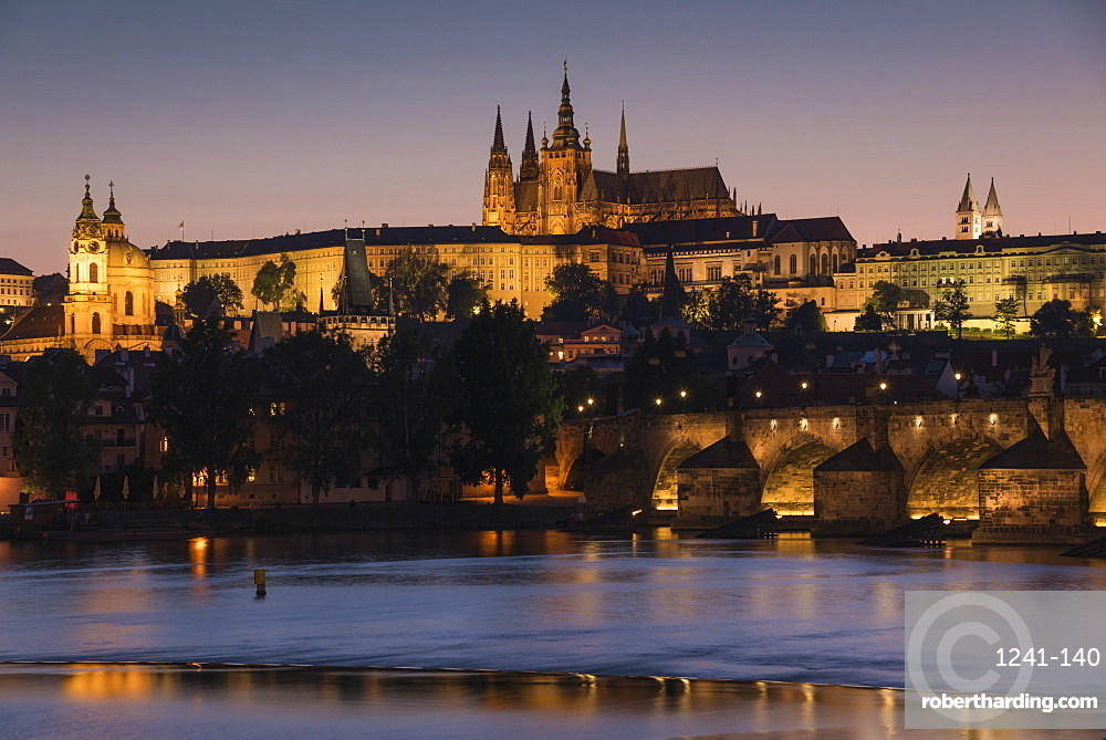 Prague Castle, Charles Bridge, Mala Strana, and the Vltava River at twilight, UNESCO World Heritage Site, Prague, Czech Republic, Europe