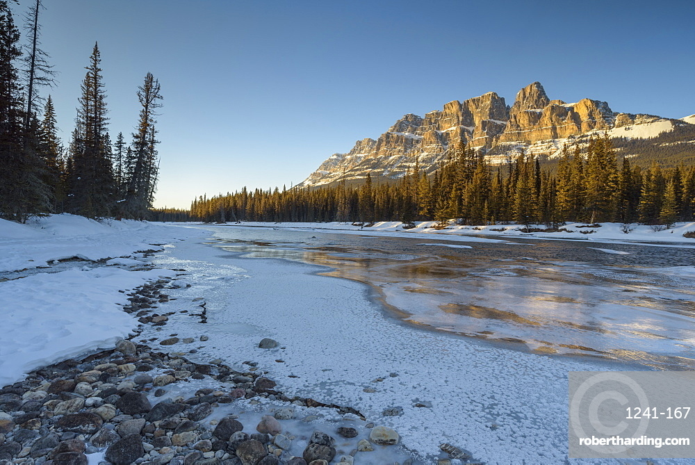 Sunset at Castle Mountain with frozen Bow River in winter, Banff National Park, UNESCO World Heritage Site, Alberta, Canadian Rockies, Canada, North America