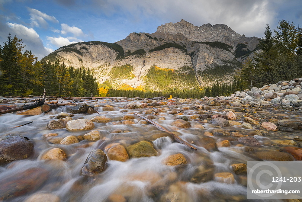 Cascade Mountain in Autumn with stoney creek, Banff National Park, Alberta, Canada