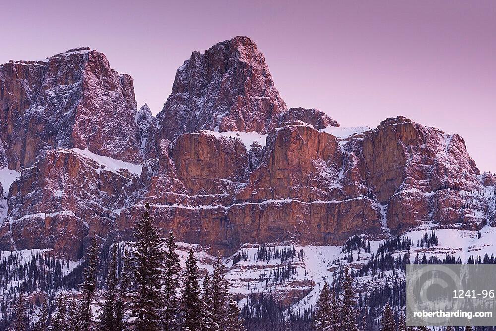 Eisenhower Peak on Castle Mountain at sunrise, Banff National Park, Alberta, Canada