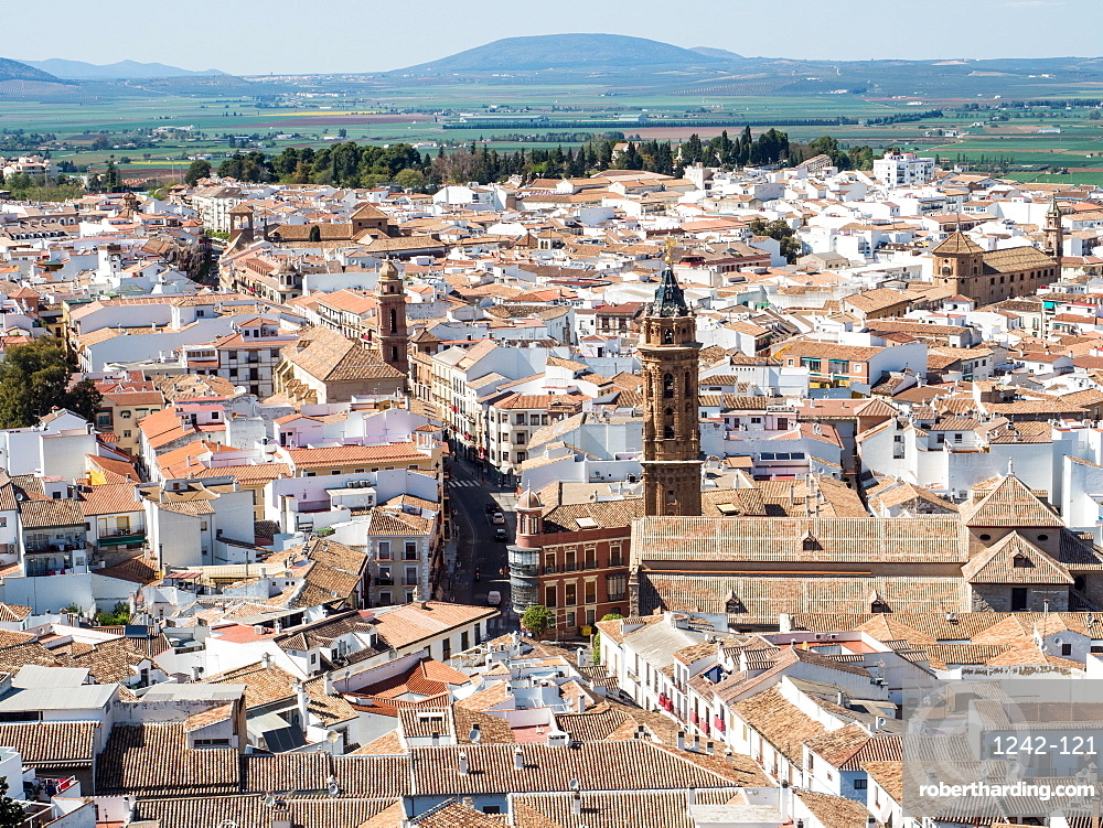 View from the hilltop fortress, Antequera, Andalucia, Spain, Europe
