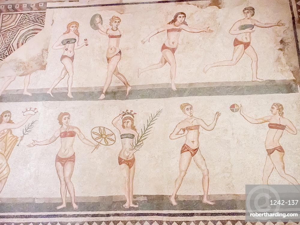 Floor mosaic of female athletes, Villa Romana del Casale, Piazza Armerina, UNESCO World Heritage Site, Sicily, Italy, Europe