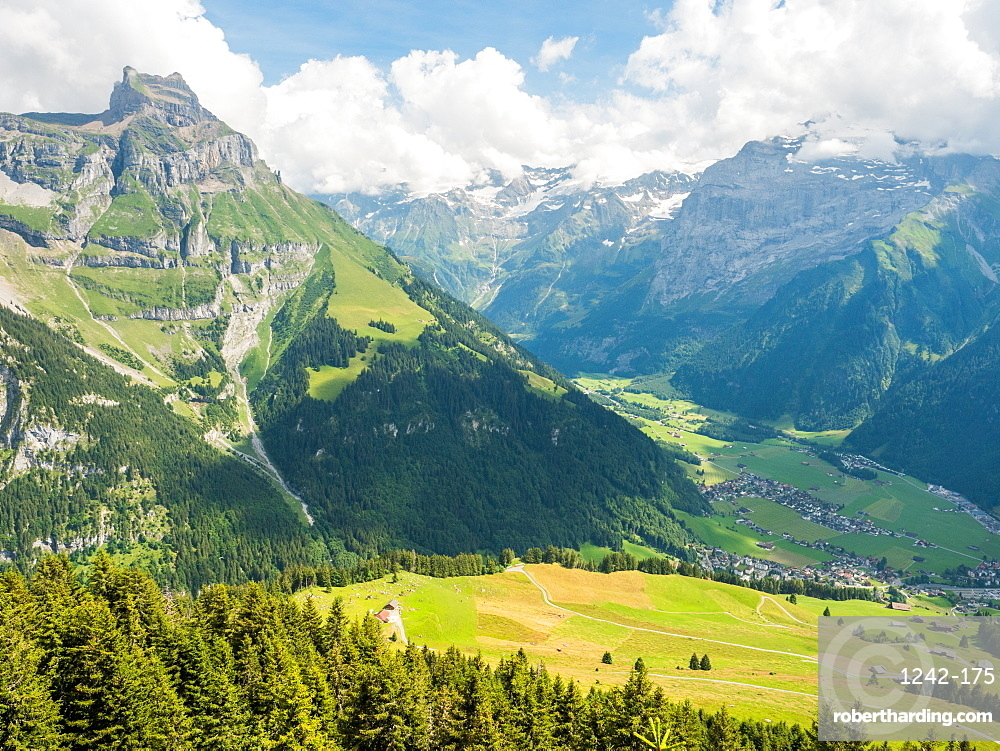 Mountain and valley view, above Engelberg, Swiss Alps, Switzerland, Europe