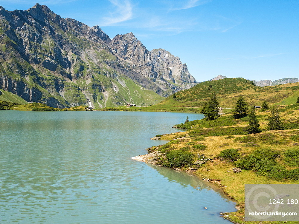 View of mountains and Trubsee, a natural lake near Engelberg, Swiss Alps, Switzerland, Europe