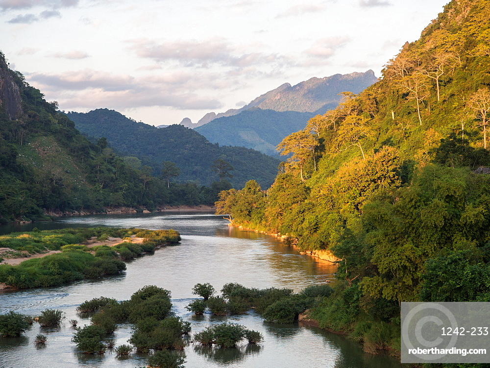 View of mountains and the Nam Ou River, Nong Khiaw, Laos, Indochina, Southeast Asia, Asia