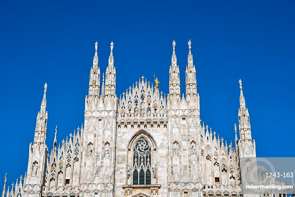 Roof and spires of Milan's iconic Duomo cathedral, Milan, Lombardy, Italy, Europe