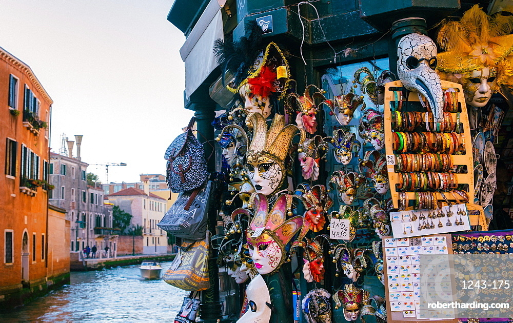 Typical Venetian masks for sale in Venice, Veneto, Italy, Europe